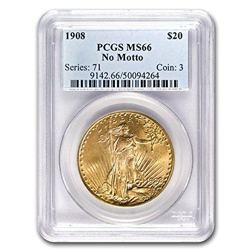 1908 $20 St. Gaudens Gold Double Eagle No Motto MS-66 PCGS G$20 MS-66 PCGS