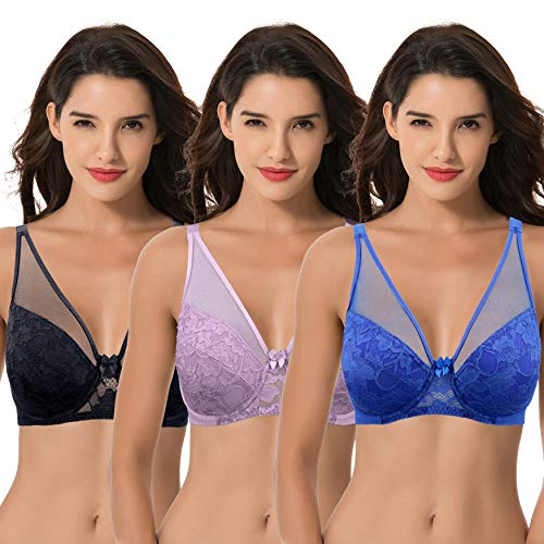 Curve Muse Women's Plus Size Minimizer Unlined Underwire Bra with Floral Lace-3PK-ROYAL,Mauve,BLACK-46DDDD