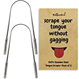 Tongue Scraper Cleaner - Stainless Steel Scrapers For Adults W/Free Travel Pouch - Naturally Antimicrobial Surgical Grade Metal To Get Rid Of Bacteria And Bad Breath