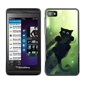 EJOY---Cubierta de la caja de protección la piel dura para el / Blackberry Z10 / --Gato Verde