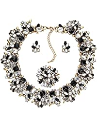 Zhenhui 3 Pieces Bling Crystal Necklace and Earrings...