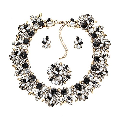 Zhenhui 3 Pieces Bling Crystal Necklace and Earrings Jewelry Set for Women 6 Colors Available (Good Costumes For Couples)