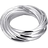 BOHG Jewelry Womens 925 Sterling Silver Plated Fashion Nine in One Interlocked Rolling Ring Wedding Band Size 8