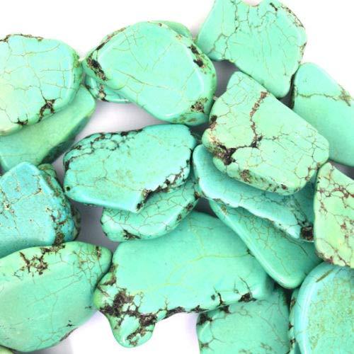 (ShopForAllYou Design Making 15-25mm Green Turquoise Freeform Slab Nugget Beads 15.5