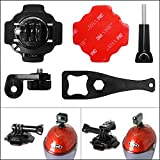 Fantaseal Action Camera Helmet Rotary Mount Kit 360 Degree Rotatable 5in1 Adhesive Mount for SONY FDR X-3000V X1000VR HDR AS 300 AS-10 AS-15 AS-20 AS-30 AS-50 AS-100 Helmet Mount Kits Accessories