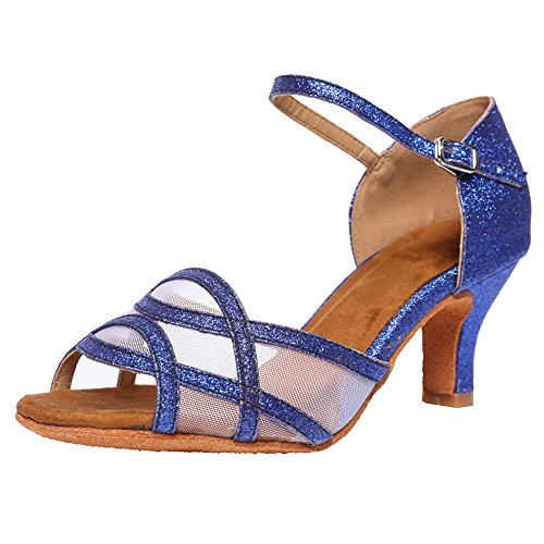 Women's Latin Dance Shoes Female's Ballroom Salsa Dance Shoes(B-Style Blue Size 6.5)