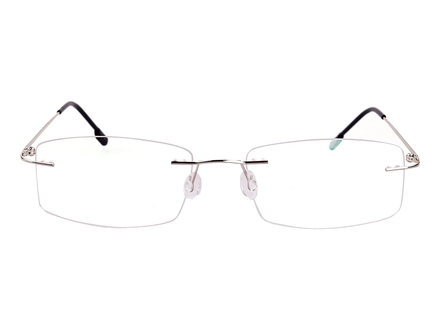 32b9f9705db Agstum Titanium Alloy Flexible Rimless Hinged Frame Prescription Eyeglasses  Rx (Silver