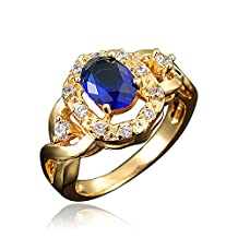 BLOOMCHARM 'My Soul' 18K Gold Plated Cubic Zirconia Engagement Wedding Ring, Gifts for Women Girls
