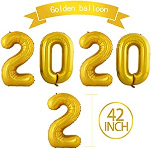 Amazon.com: 42 Inch 2020 Gold Foil Number Balloons for ...