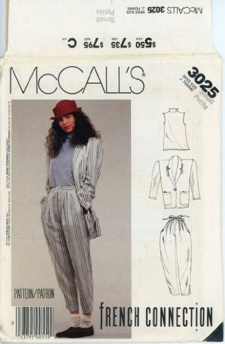 Mccalls French Connection Sewing Pattern 3025 Pleated Drawstring Tapered Leg Pants with Side Pockets, Stand Collar Pullover Sleeveless Shell Top, and Big Shoulder Wedge Shaped Patch Pocket Notched Shawl Collar One Button Jacket, Wardrobe