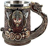 Tazas Vaso De Cerveza Medieval Vintage Copa De Vino Vikinga Guerrero con Cuernos con Casco De Batalla Jarra De Cerveza con Revestimiento De Acero Inoxidable 20 Oz (Capacity : 600ml