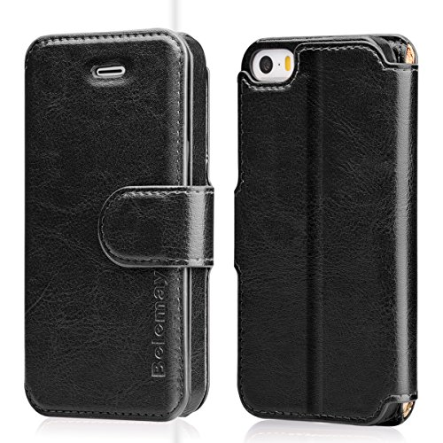 Belemay iPhone SE Case, iPhone 5S Case, iPhone 5 Case, Genuine Leather Wallet Case, Flip Folio Cover Magnetic Closure, Card Holder Slots, Kickstand, Cash Pockets Compatible iPhone SE / 5S / 5, Black