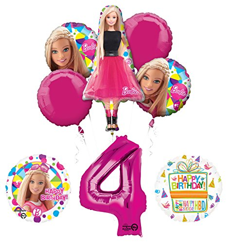 Barbie 4th Birthday Party Supplies and Balloon Bouquet Decorations]()