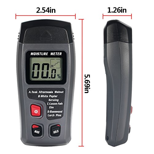 Mochalight Wood Digital Moisture Meter 2 Pins Sensor Wood Detector Moisture Tester Water Leak with Digital LCD Display Range 0% to 99.9% by Mochalight