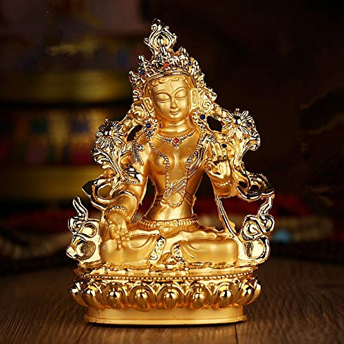 Office Decoration Buddhist Statue - Efficacious Green Tara Tranic Gilding 14cm Gold Buddha Alloy Metal Buddhist Suppliers Home/Office Decorate Statue Craft 1 PCs (Supplier Sculpture Base)