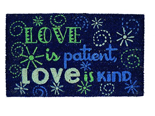 Mat Door Love (DII Indoor/Outdoor Natural Coir Easy Clean Rubber Non Slip Backing Entry Way Doormat For Patio, Front Door, All Weather Exterior Doors, 18 x 30