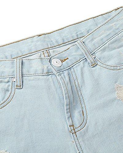 Pantaloni Lunghezza Donna Jeans Sciolto Denim Casual Lightblu 1xqPntwRn
