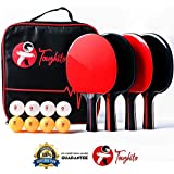 Toughito Ping Pong Paddle Set- Aero Black Ping Pong Paddles Set of 4 for All Age| Table Tennis Racket with Premium Rubber & Sponge, 3 Star Ping Pong Balls, Buy with Confident Satisfaction Guarantee