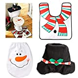 YaptheS 3 Pieces Snowman Santa Toilet Seat Cover and Rug Set Red Christmas Decorations for Bathroom