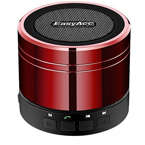 EasyAcc Mini Wireless Speaker, Portable USB Travel Speaker with Mic, AUX, FM Function, Micro SD Card Support for Tablet Laptops Smartphones, Red