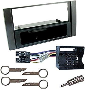 Sound-way Kit Montage Autoradio, Marco 1 DIN Radio de Coche, Adaptador Antena, Cable Adaptador Conector ISO, Llaves Desmontaje Compatible con Ford ...