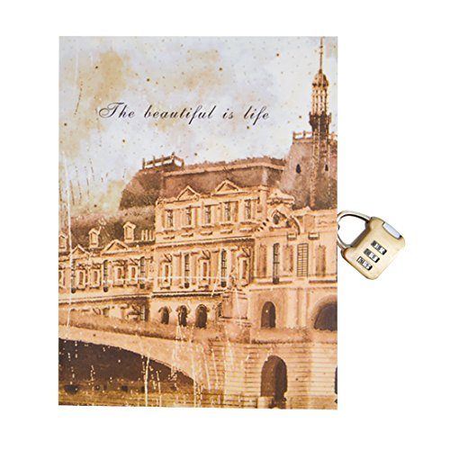 Monique Hardover Notebook Business Notebook Writing Journal Travel Personal Dairy Book with Lock 1550 Castle from Monique