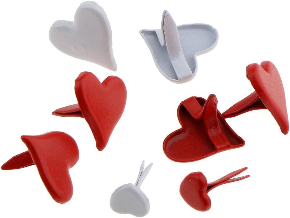 Prettyia 100x 11mm Holiday Decorative Crafts Making Necessaries Love Heart Pattern Metal Brads Scrapbooking Adornments Card Making Brads