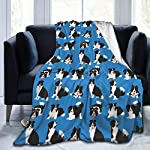 """WdRaIn Border Collie Dog Cute Blanket Flannel Fleece Blanket Soft Microfiber Blanket for Sofa Office Bed and Travelling 60""""x50"""" 6"""