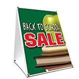 A-frame Sidewalk Back To School Sale Sign With Graphics On Each Side | 24'' X 36'' Print Size