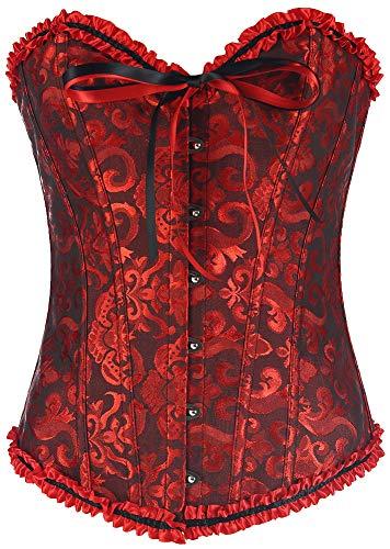 GSHappyGo Women's Lace Corset Strapless Wedding Dress Corset Bustiers Cincher Dark Red M ()