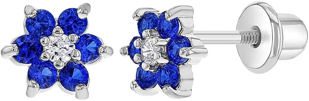 In Season Jewelry - Chapado en Rodio Flor Cristal Azul Aretes con Cierre de Rosca para Niñas