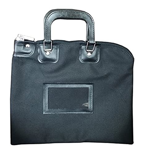 Locking Bank Bag Canvas with Hard Handles Black - Locking Security Bags