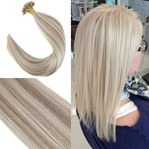 Youngsee 22 inch 100% Real Hair U-Tip Human Hair Extensions Brown Highlight with Blonde Silk Straight Hot Fusion Nail Tip Remy Human Hair 50gram