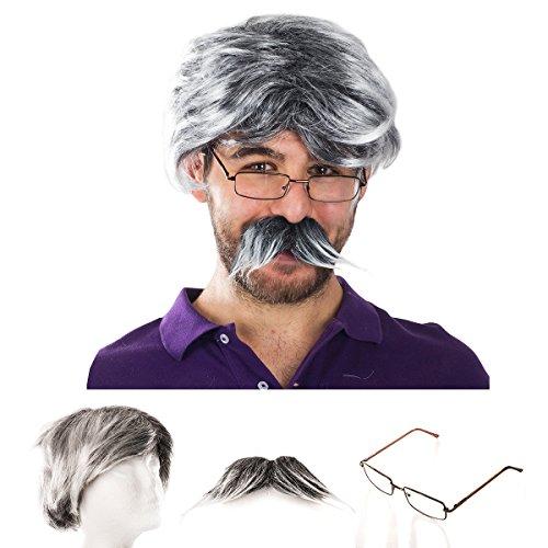 Tigerdoe Old Man Costume - Dress Up Set, Grey Wig, Mustache, Grandpa Glasses - Grandpa Costume (3 Pc Set)