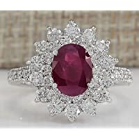 Saengthong Charming Jewelry 925 Silver Oval Cut Ruby White Sapphie Ring Wedding Size 6-10 (9)