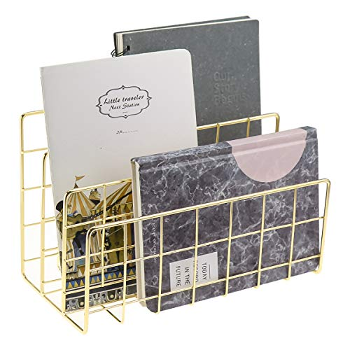 (MORIGEM Desktop Mail Organizer, 3-Slot Metal Wire Mail Sorter, Letter Organizer Holder for Letters, Mails, Books, Postcards and More, Mail Holder Gold)