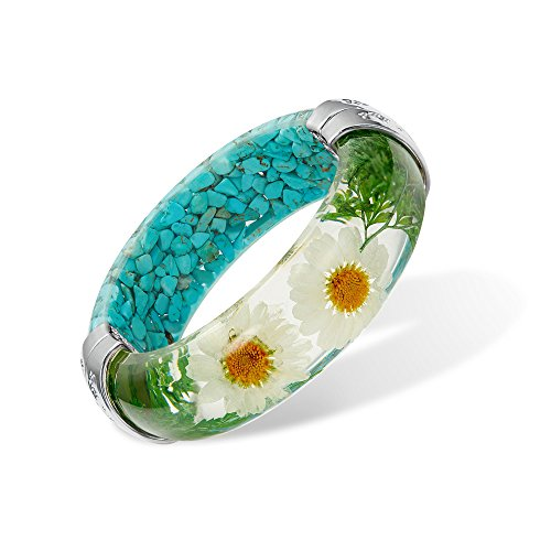 IDesign Hinged DIY Handmade Half of Dry Pressed Daisy Flower and Half of turquoise Resin Bracelet Garden Transparent Bangle Bracelet (Turquoise) (Resin Transparent Bracelets)