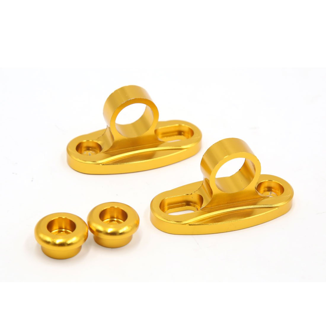 uxcell 2pcs Gold Tone Aluminum Alloy Motorcycle Rearview Mirror Fairing Adapter Bracket