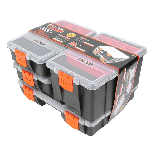 (Tactix 320020 Hardware & Parts Organizers, 4 Piece Set, Black/Orange)