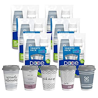 Dixie To Go Paper Cups and Lids, 12Oz, 66 Count, Disposable Insulated Cups and Lids (Designs May Vary)