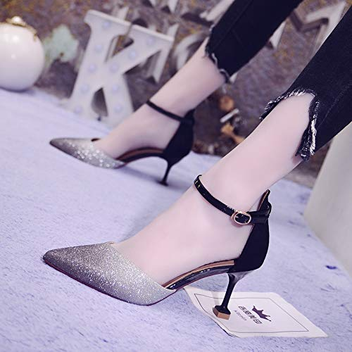 heels Bridesmaid Point Stiletto Buckle High Black Girls Heels With Cat Word Wild High Shoes Female A A With Yukun Bqa5a