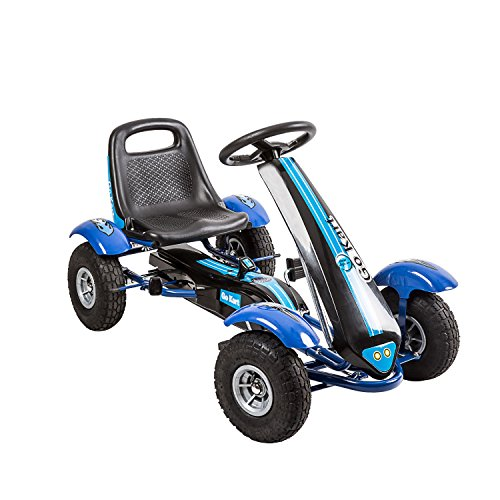 Peach Tree Kids Ride Go Kart 4 Wheel Pedal Powered Ride Racer Outdoor Toy Cart Boys & Girls with Adjustable Seat, Blue ()