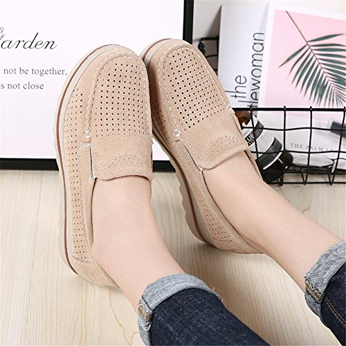 Low Wide Suede Wedge Platform Top Hollow Khaki Moccasins On Loafers Shoes Slip Comfort Sanyes Women 18wYzz