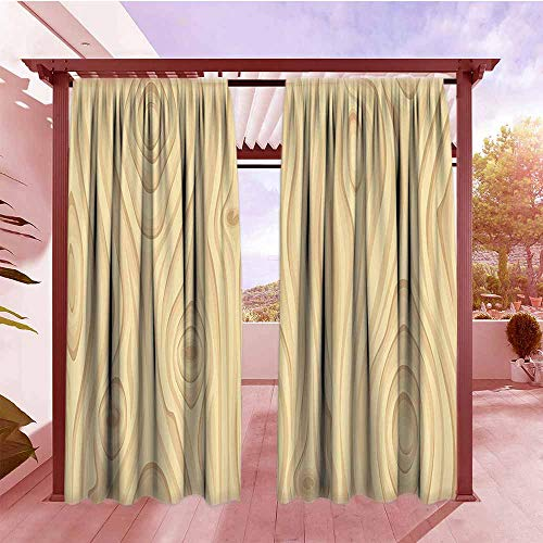Rod Pocket Pattern Curtains Beige Decor Wooden Texture Pattern Grains of Wood Natural Tree Growth Lines of Nature Organic Themed Image Simple Stylish W96x72L Cream