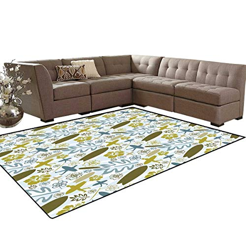 Luau Bath Mats for Floors Beach with Silhouette of Surfer Waves and Exotic Plant Summer Theme Floor Mat Pattern 5'x7' Olive Green Khaki Slate Blue (Terrier Welcome Slate)