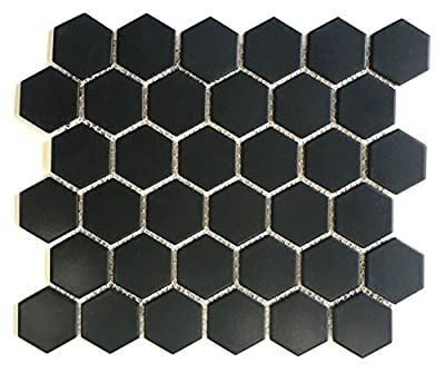 "Black Hexagon 2"" Matte Porcelain Mosaic Floor and Wall Backsplash Bath Kitchen 10 Pack Box"