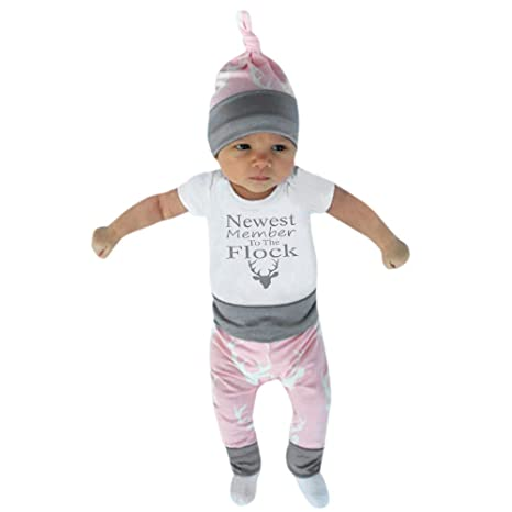 feiXIANG Bebé recién Nacido Ropa bebé niño niña Infantil recién Nacido Carta de Ciervo Cabeza de