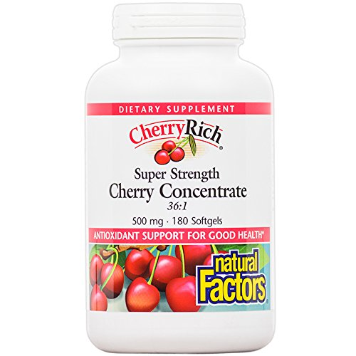 Natural Factors - CherryRich Super Strength Cherry Concentrate 500mg, Antioxidant Support, 180 Soft Gels