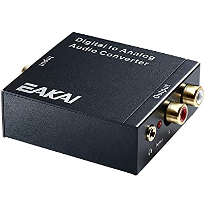 EAKAI Digital Optical Coax to Analog RCA Audio Converter with 3.5 mm Jack, 192 KHz 24-bit DAC with DC 5V Power Supply Adapter [USA UL Licensed]