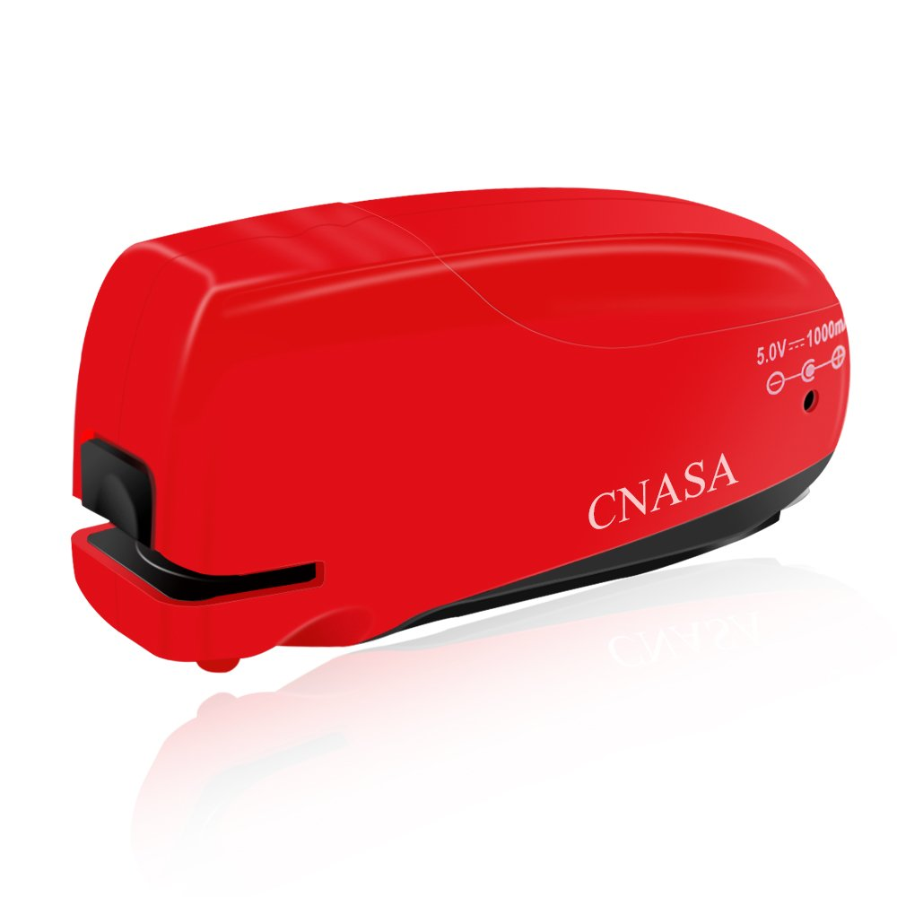 Electric Stapler-CNASA Automatic Heavy Duty AC or Battery Powered with Remover for Home, Office, Classroom and School, 10 to 16 Sheets, Red